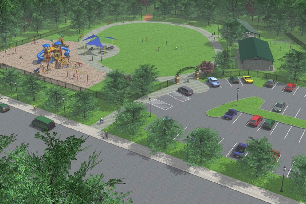 Digital mockup of Ridge Park project with swings, jungle gyms, picnic tables, a soccer field, public restrooms, pavilions, and a parking lot