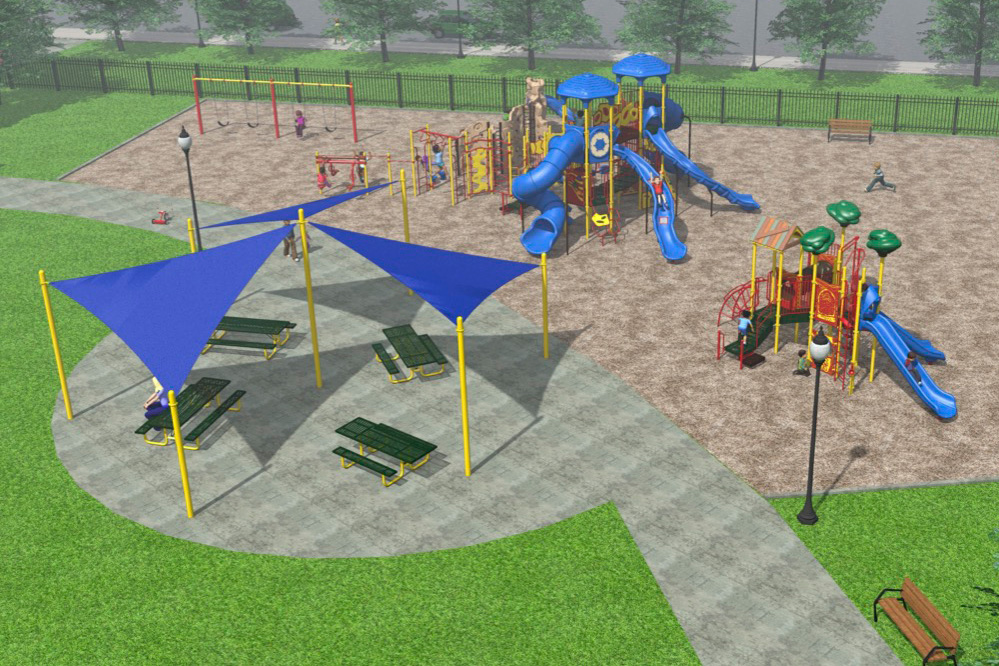 Digital mockup of Ridge Park project with picnic tables, swings, and two large jungle gyms