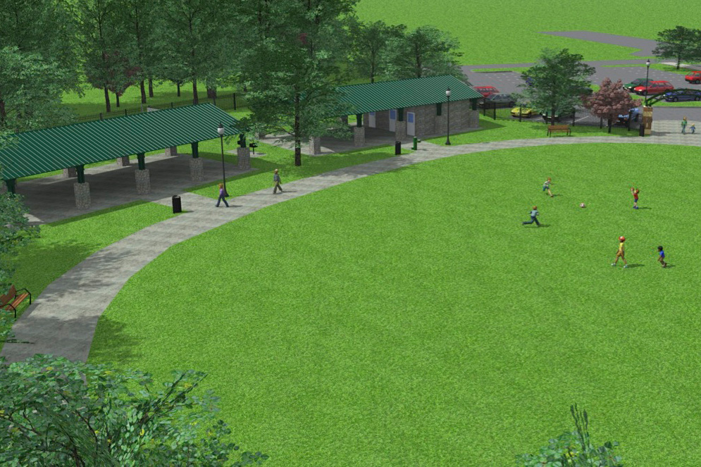 Digital mockup of Ridge Park project with large green pavilions, public restrooms, and a soccer field with kids kicking a ball