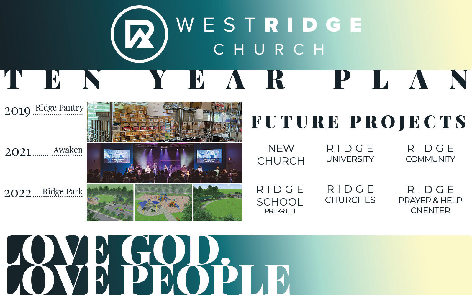 10 year vision plan summary for West Ridge Church